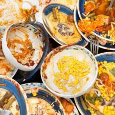 Food leftovers on plates