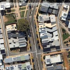 An aerial view of some homes at Lochiel Park